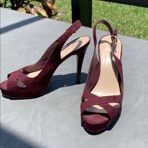 Dark purple guess platform sling backs